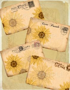 Instant Download    Vintage Postcards Sunflowers  -  Printable Digital Collage Sheet - pinned by pin4etsy.com