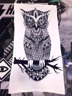 Owl Zentangle Beach Towel!