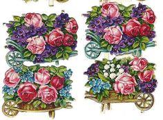 Antique German Paper Scrap Die Cut Floral Bouquets in Flower Carts by vintagecornucopia
