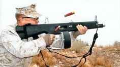 aa-12-combat-shotgun-The AA-12 is a shotgun, but not just any shotgun: it's a fully-automatic shotgun. As in, it fires shotgun rounds at a rate of 300 per minute. If being hit by a shotgun isn't a scary enough thought as is, imagine being hit by six shotguns, all within the space of a second. That's essentially what an AA-12 is.