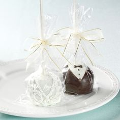 Bride and Groom Brownie Pops Favor  these would be placed at each table for the guests to enjoy