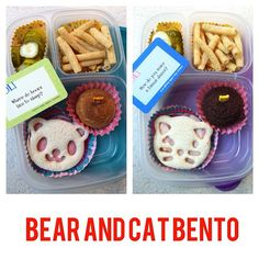 Easy bear and cat bento school lunch made with @EasyLunchboxes and @cutezcute