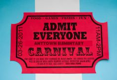 Free Printable Carnival Ticket Invitations