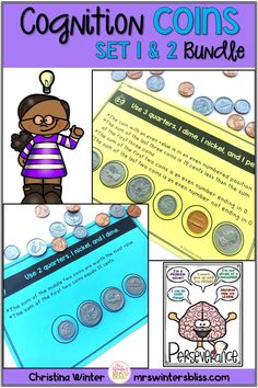 This set of 40 interactive coin counting logic puzzles will have kids begging for more! Easy to use, these brain teasers are a great money math center that will keep kids engaged while thinking logically. These puzzles are perfect to help your 1st-4th grade students learn to persevere through challenging tasks. mrswintersbliss.com #logicpuzzles #learncoins