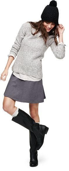 Shades of grey make for a cozy day in an Old Navy Ponte-Knit Circle Skirt.