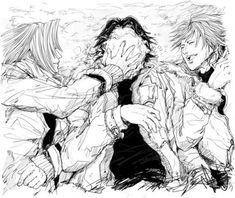 Final Fantasy 7: Sephiroth Angeal Genesis. Three friends just having fun.