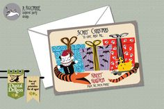 Nightmare Before Christmas Customized Christmas Card with snake, scary teddy, killer duck and presents on Etsy, £7.94