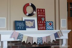 Chevron artwork. 15 Fabulous Fourth Of July Mantels (Flashback Friday) | The Kim Six Fix