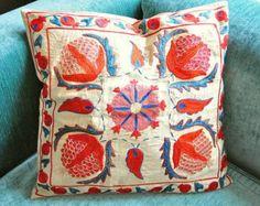 Embroidered uzbek silk suzani pillow cover.