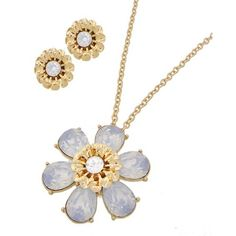 "Flower Necklace Set Matte Gold Tone / White Opal Acrylic / Lead&nickel Compliant / Post (earrings) / Flower / Pendant / Necklace & Earring Set •   LENGTH : 17 1/2"" + EXT •   PENDANT : 1 3/8"" DIA •   EARRING : 5/8"" DIA  •   W.GOLD/OPAL R.E.A.L Jewelry Jewelry Necklaces"