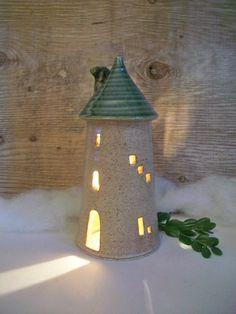 Tower, Fairy House - Night Light - Handmade, Wheel Thrown.