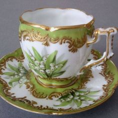 Emerald Green & White Cup and Saucer