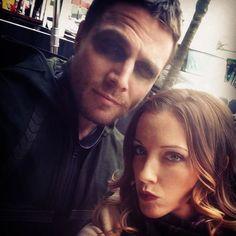 Image via We Heart It https://weheartit.com/entry/93290486/via/18191827 #arrow #beautifulman #couple #friends #love #katiecassidy #greenarrow #oliverqueen #stephenamell #laurellance #amellywood