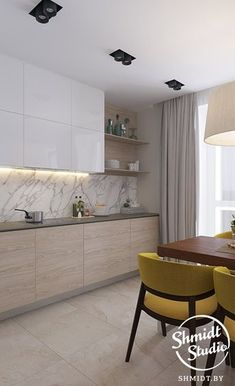 21 veces he visto estas serenas cocinas modernas. Grey Kitchen Designs, Kitchen Room Design, Contemporary Kitchen Design, Home Room Design, Kitchen Cabinet Design, Home Decor Kitchen, Interior Design Kitchen, Home Kitchens, One Wall Kitchen