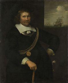Jan Albertsz. Rotius   Portrait of Jan Cornelisz Meppel, Lieutenant-Admiral of Holland and West-Friesland, Jan Albertsz. Rotius, 1661   Portret van Jan Cornelisz Meppel (1609-69), luitenant-admiraal van Holland en West-Friesland. Staand, ten halven lijve, met een wandelstok in de rechterhand, de linkerhand in de zij. Om de borst een gouden ketting met een penning met een portret. Rechts op de achtergrond een zeegezicht met schepen.