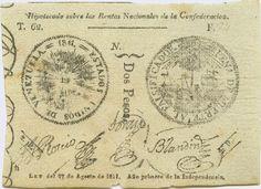 Pieza beuv2p-aa01-5 (Anverso). Billete de los Estados Unidos de Venezuela. 2 Pesos Fuerte. Diseño A, Tipo A. Fecha Agosto 27 1811. Serie 5 dígitos