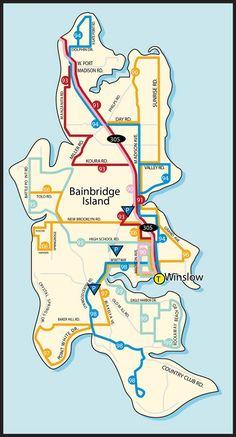 Map of Bainbridge Island Seattle Ferry, Vancouver Seattle, Vancouver Island, Seattle Area, Bainbridge Island Washington, System Map, Sleepless In Seattle, Island Map, San Juan Islands
