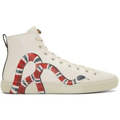 Gucci Off-White Snake Major High-Top Sneakers (79125 ALL) ❤ liked on Polyvore featuring men's fashion, men's shoes, men's sneakers, mens rubber sole shoes, mens round toe dress shoes, mens high top sneakers, mens lace up shoes and mens high top shoes
