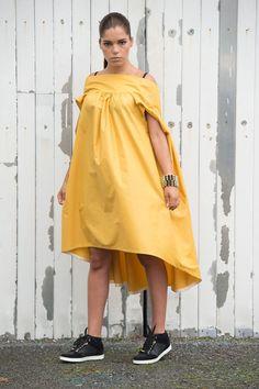 Asymmetrical loose drape mustard tunic dress with open back. Plus size fashion.