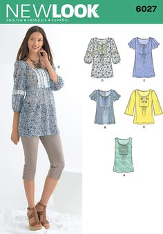 Amazon.com: New Look sewing pattern 6027: Misses' Tunic or Tops size A (10-12-14-16-18-20-22): Arts, Crafts & Sewing