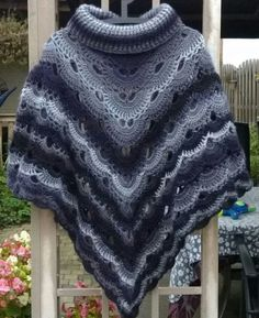 Crocheted Virus Shawl Poncho...2 Virus Shawls sewn together and cow neck added: