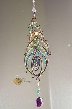 SALE Super sparkly Peacock feather gemstone suncatcher, Swarovski crystal hanging wire art, home window decor patio garden decoration