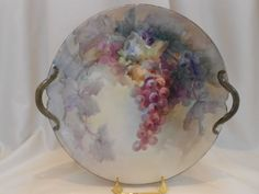 Exquisite Limoges Handled Tray; Charger; Outstanding Painting; Grapes from finestporcelain on Ruby Lane
