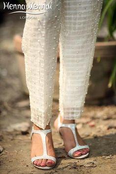 White Embroidered Cigarette Trousers