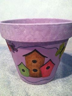 Decorated Flower Pot Hand Painted Pot Clay Pot by LiveLaughLooloo, $33.00