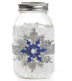 Add some whimsy with LED candles & a #snowflake mason jar :) #ModPodge