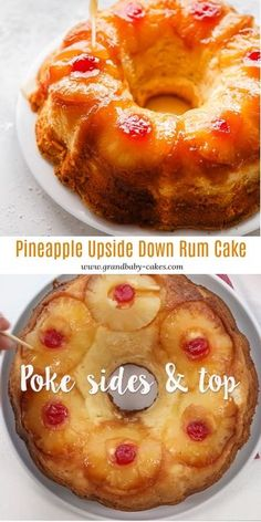 Pineapple Rum Cake is HERE! A buttery sour cream pound cake is enhanced with sweet tropical pineapple flavor and a rum syrup. The gorgeous pineapple upside down topping makes it a showstopper! Pound Cake Recipes, Easy Cake Recipes, Baking Recipes, Dessert Recipes, Food Cakes, Cupcake Cakes, Bundt Cakes, Layer Cakes, Just Desserts