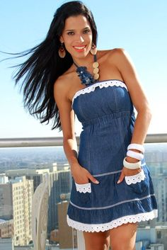 ($9.00/EA. 6 PC/PACK) wholesale eyelet trim denim babydoll sundress  Be the first to review this product    Availability: In stock    $54.00 Denim Corset, Denim And Lace, Denim Fashion, Fashion Outfits, Hippie Fashion, Rave Outfits, 70s Fashion, Mode Jeans, Denim Crafts