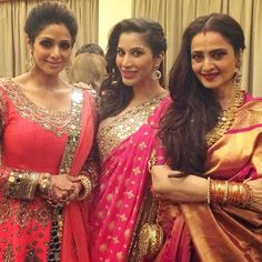 Sophie Choudry shared a picture of herself with veteran divas Sridevi and Rekha at the wedding. (Source: Instagram)