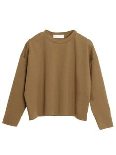 Shop Camel Dropped Shoulder Cropped Sweatshirt With Rawed Edge