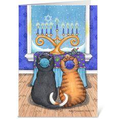 Happy Hanukkah Cats Wearing Yarmulke - Send this greeting card designed by Betty Matsumoto-Schuch Happy Hanukkah Images, Hanukkah Cards, Hanukkah Decorations, Hanukkah Menorah, Christmas Hanukkah, Hannukah, Christmas Cats, Christmas Photos, Hanukkah 2019