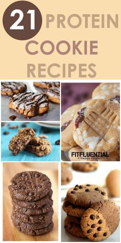 21 protein cookie recipes- Healthy snack ideas which are all low on sugar! Healthy Protein Snacks, Healthy Cookies, Protein Foods, Healthy Sweets, Healthy Baking, Protein Bars, Healthy Cookie Recipes, Vegan Recipes, Healthy Meals
