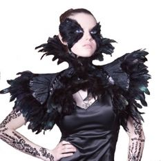 BLACK SWAN  Burlesque Victorian Gothic Noir Couture  Deco Vintage Steampunk Feather Costume Shrug Hollywood Diva