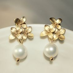 Original Pearl Earrings, Last Minute Gift, Ready To Ship, Gold Cherry Blossom Earrings, Bridesmaids Gift,Unique Christmas Gift Under 25. $23.00, via Etsy.