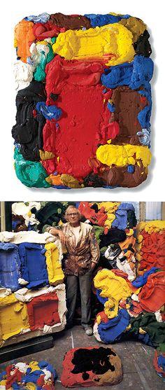 Bram Bogart (1921 - 2012), Artist, Promenade (top image), 2007, Mixed media (pigment and cement mixture), 135 x 108 cm