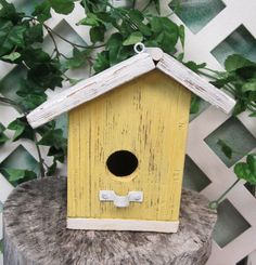 Primitive Barn Wood Bird House Yellow & White by outbackantiques. $15.00, via Etsy.
