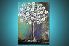Swirly Tree Solo --- 2 ft x 1.5 ft Modern Abstract Acrylic Painting --- Home Decor. $49.00, via Etsy.