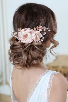 Wedding Hair Accessories DIONA Rose Gold Blush Bridal Hair Flower With Crystal For Bridesmaid Wedding Hair And Makeup, Wedding Hair Accessories, Wedding Flower Hair, Wedding Jewelry, Soft Wedding Hair, Ladies Accessories, Flower Hair Accessories, Bridal Hair Flowers, Bridal Hair Updo With Veil