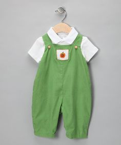 Take a look at this White Polo & Green Pumpkin Corduroy Overalls - Infant on zulily today!