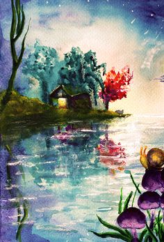 Lake House - by Medea Ioseliani -  Hello and welcome to my Art World of colors and magic, I am an artist Medea Ioseliani and you are welcomed to visit my artist's workshop to get ideas for home decor or get some gift ideas and simply get inspired by art.  #decoridea #medeaart #fantasyart #artprint #colorful #walldecor #colorfulart #fineart #fineartprint #art  #artgallery #artwork #homedecor #decor #giftideas #gallery #artideas #painting #giftidea #artlover #arte
