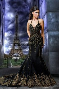 Hot selling!! Free shipping 2012 gaby saliba Sexy Backless black & Gold Mermaid Evening Dresses Prom dresses Emroidery GS003 $229.89