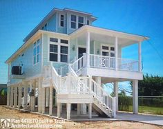 House Plan comes to life in Texas! - photos of house plan Beach House Floor Plans, Coastal House Plans, Coastal Homes, Coastal Living, Stilt House Plans, House On Stilts, Beach Cottage Style, Beach Cottage Decor, Coastal Decor