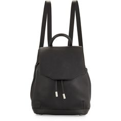 Rag & Bone Pilot Mini Leather Backpack ($595) ❤ liked on Polyvore featuring bags, backpacks, accessories, black, american backpack, leather bags, black flap backpack, black leather bag and leather rucksack