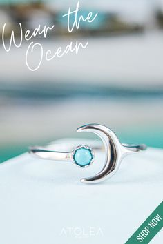 Wear the Ocean! Check out this CELESTIAL MOON RING. Discover more minimalist and ocean-inspired jewelries from Atolea Jewelry. We offer free shipping anywhere you are! Wear the ocean with style at atoleajewelry.com