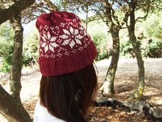 Burgundy Knit Beanie in Scandinavian Fair Isle Star Pattern made in Wool Alpaca - Available in 5 Colours