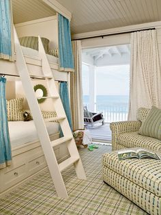 Beach House Bedroom - if I ever were to have a beach house - what fun to claim that top bunk bed! Only change I'd make -  re-position beds to face the ocean view!